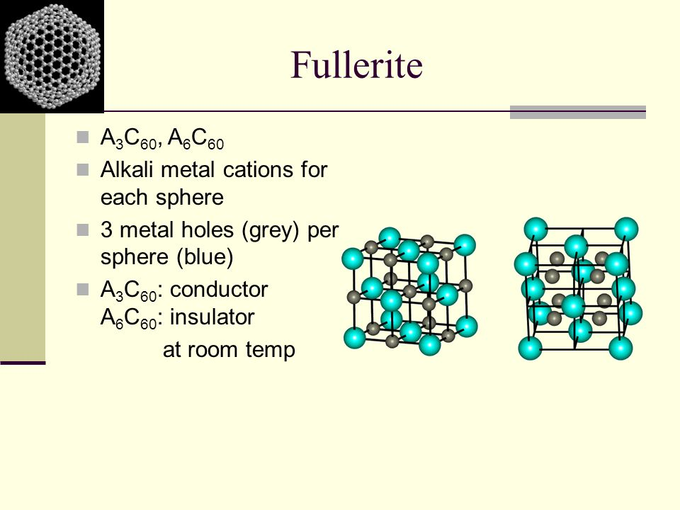 Fullerite A3C60, A6C60 Alkali metal cations for each sphere