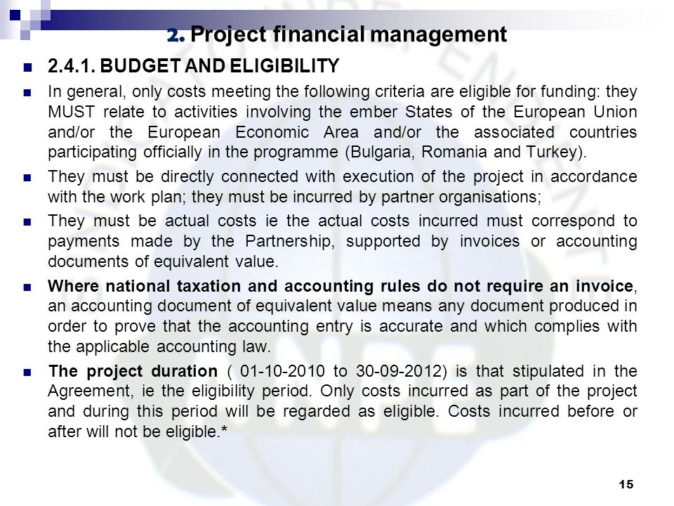 2. Project financial management