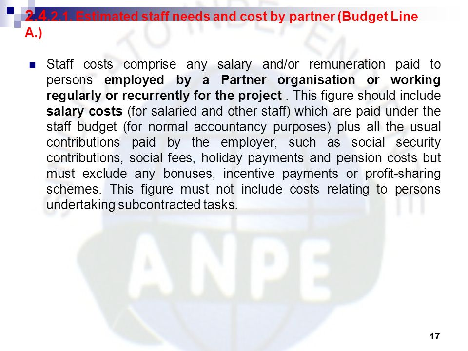Estimated staff needs and cost by partner (Budget Line A.)