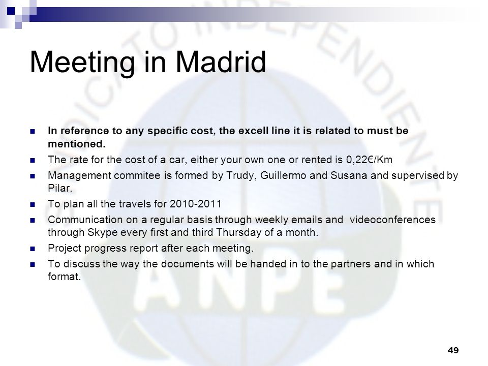 Meeting in Madrid In reference to any specific cost, the excell line it is related to must be mentioned.