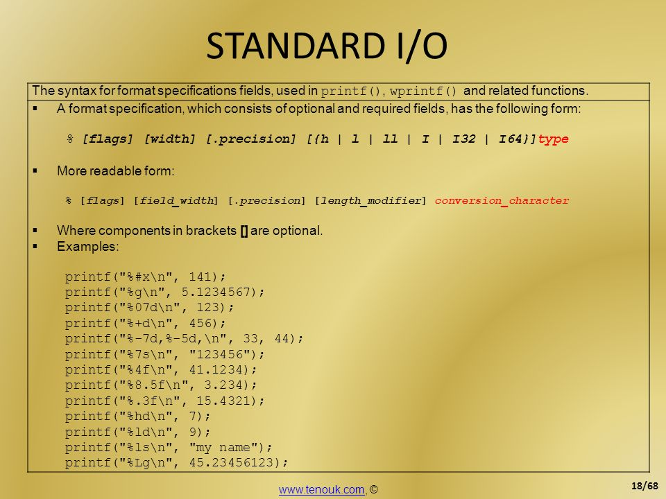 STANDARD I/O The syntax for format specifications fields, used in printf(), wprintf() and related functions.