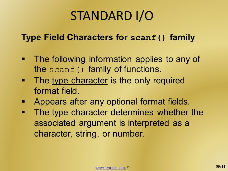 STANDARD I/O Type Field Characters for scanf() family