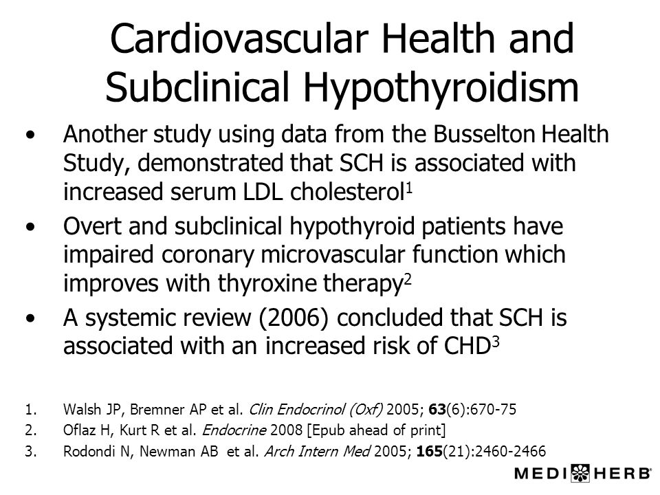 Cardiovascular Health and Subclinical Hypothyroidism