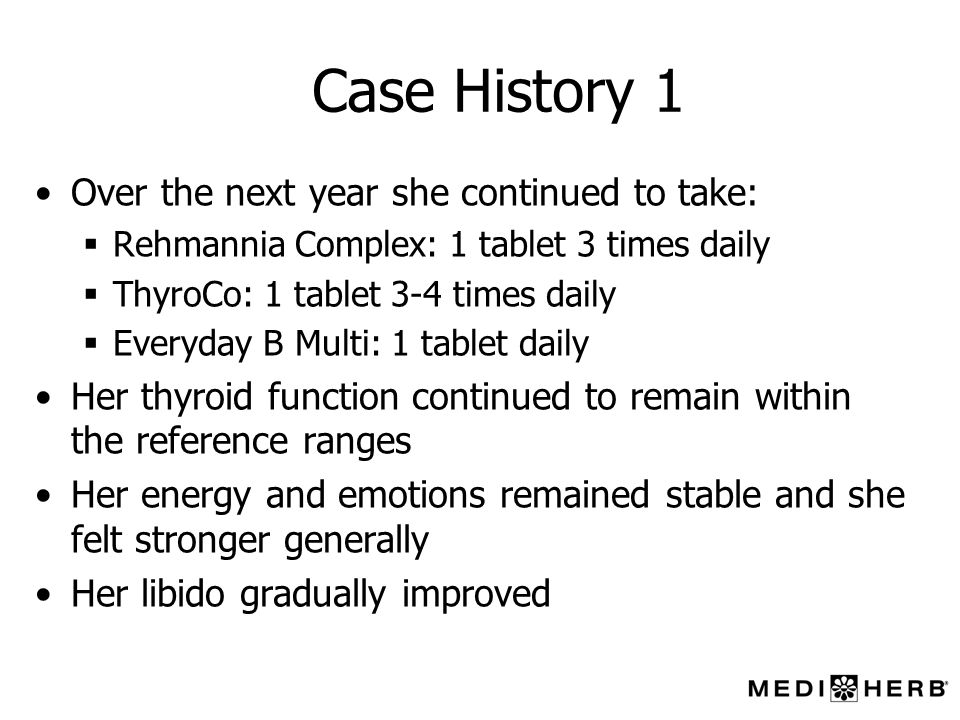 Case History 1 Over the next year she continued to take: