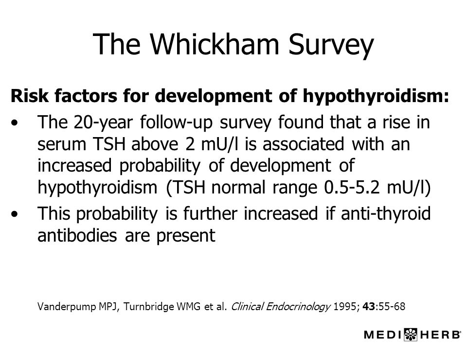 The Whickham Survey Risk factors for development of hypothyroidism: