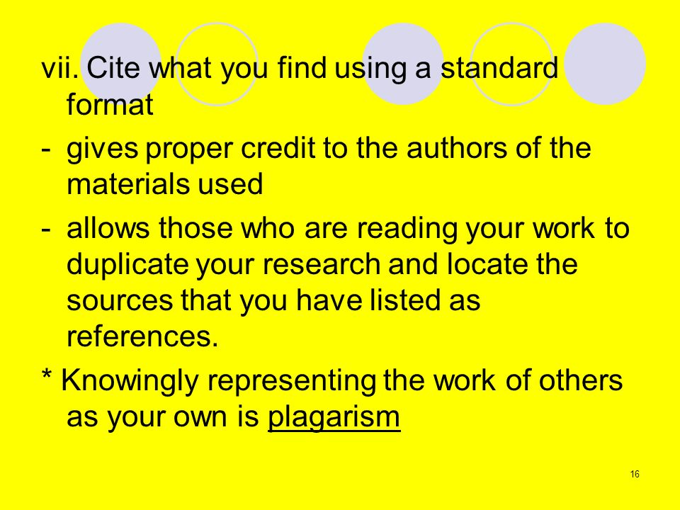 vii. Cite what you find using a standard format