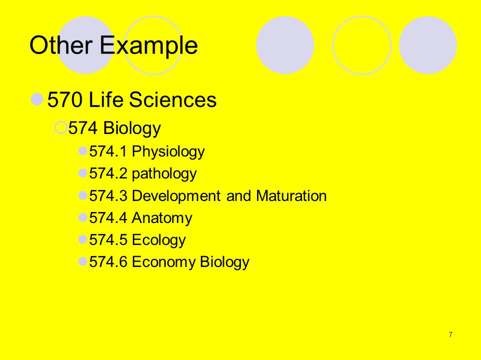 Other Example 570 Life Sciences 574 Biology 574.1 Physiology