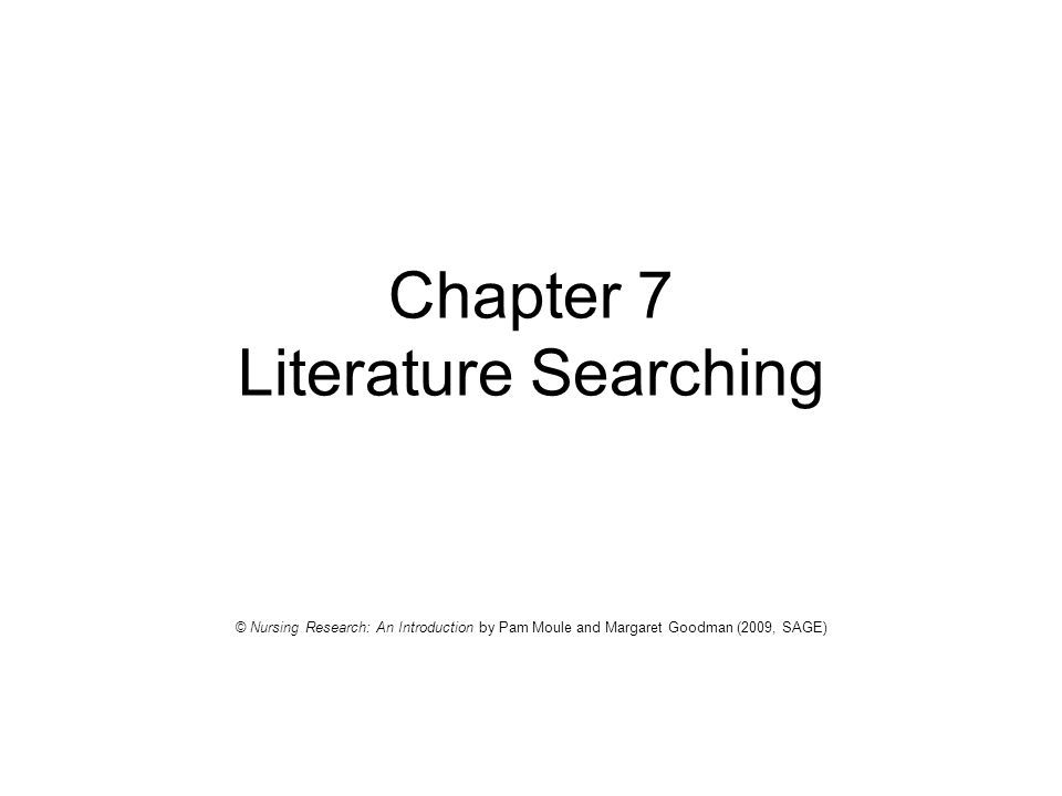 Chapter 7 Literature Searching