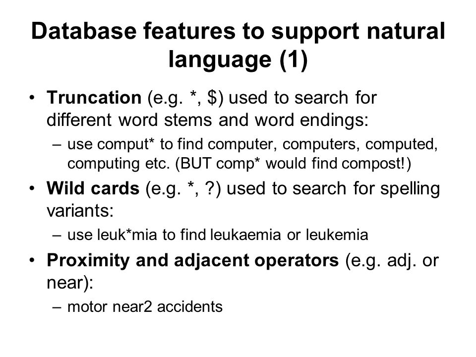 Database features to support natural language (1)