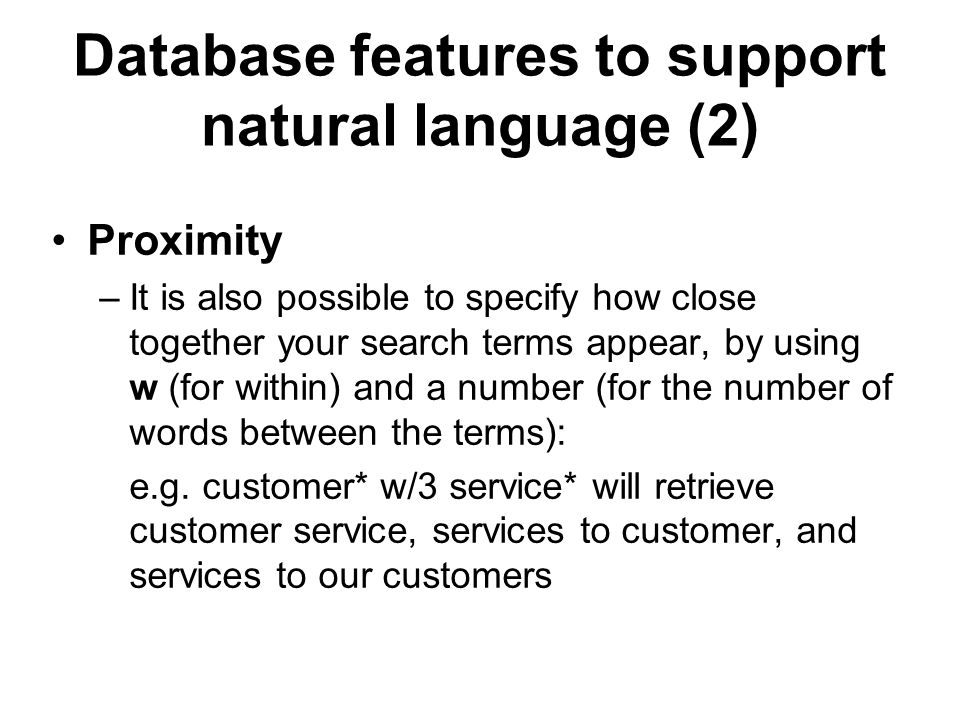 Database features to support natural language (2)