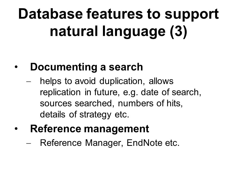 Database features to support natural language (3)