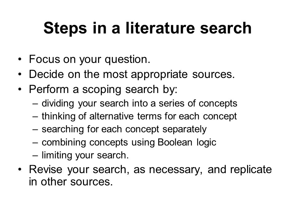 Steps in a literature search