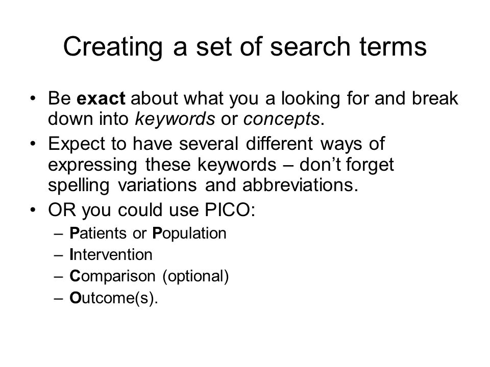 Creating a set of search terms