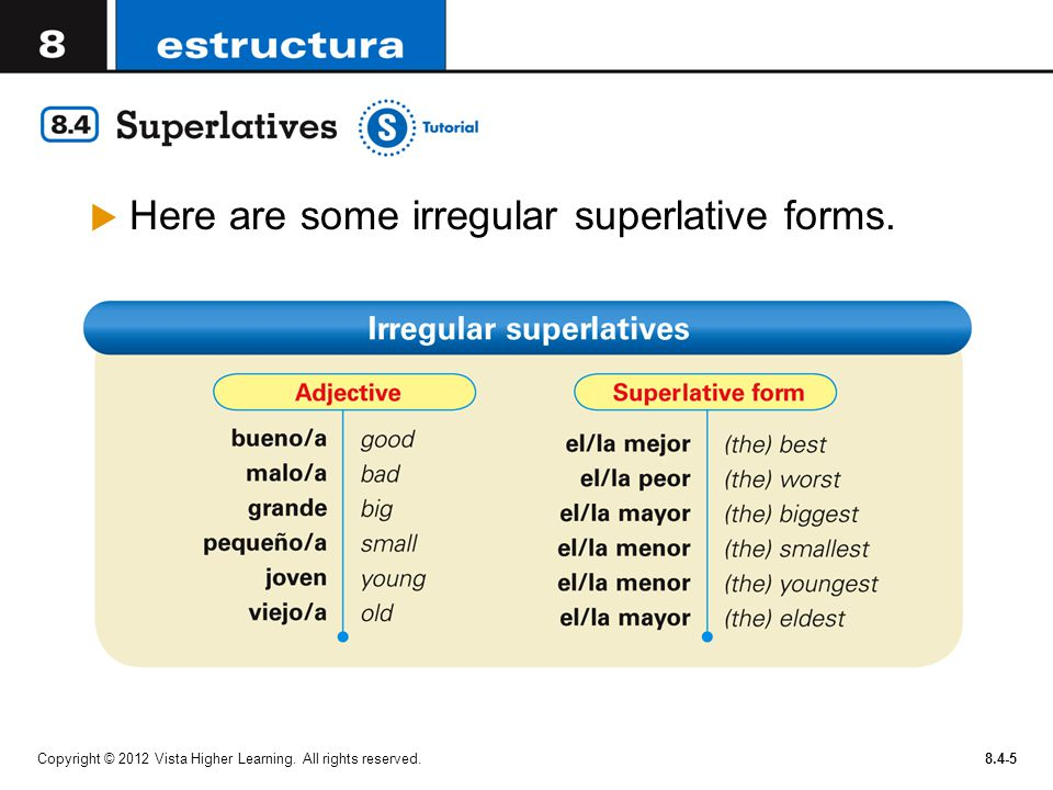 Here are some irregular superlative forms.