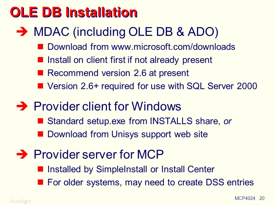 Using OLE DB Paul Kimpel Session MCP UNITE Conference - ppt download