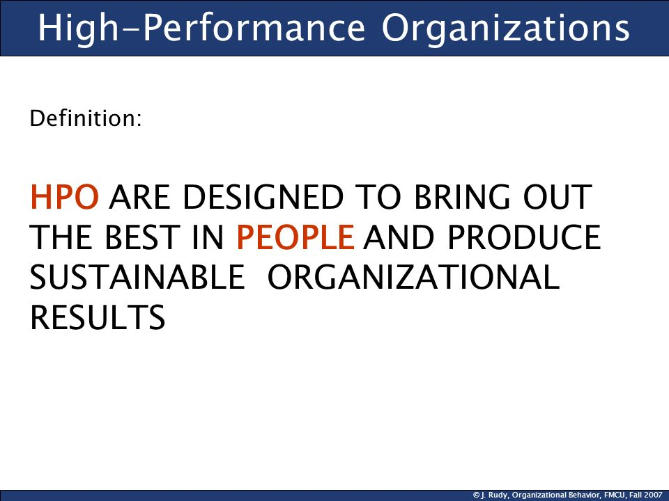 High-Performance Organizations