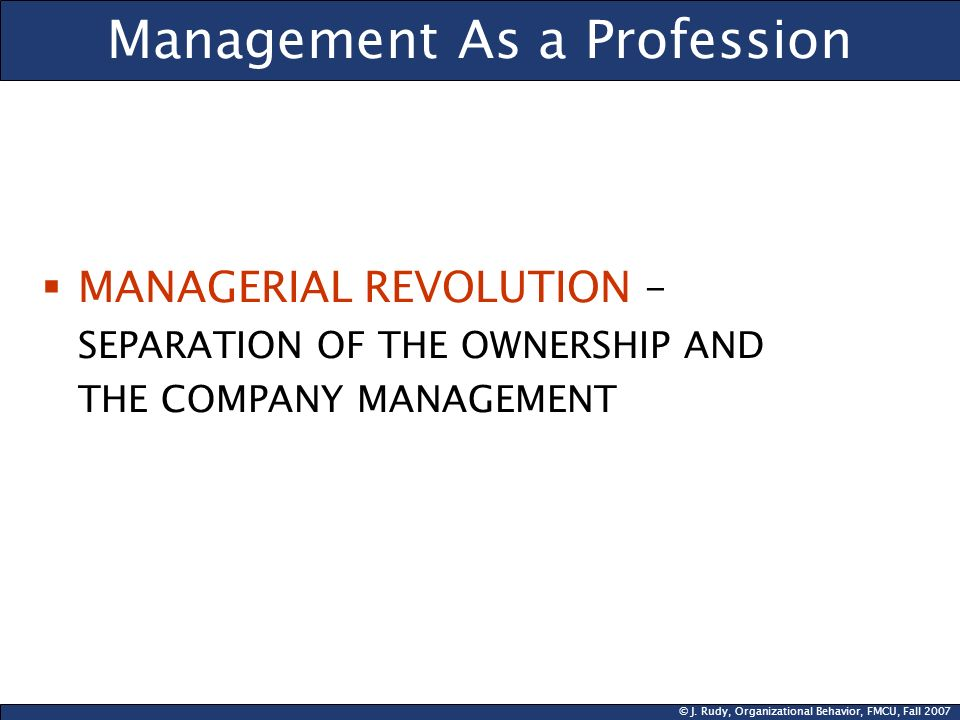 Management As a Profession