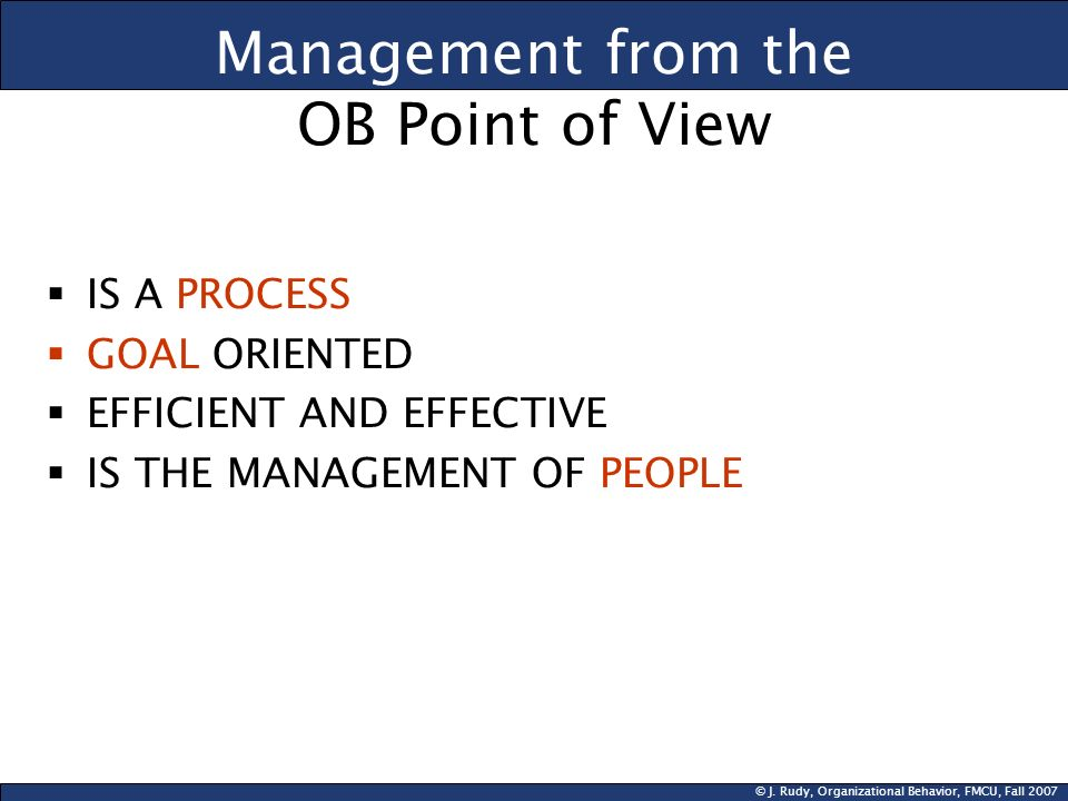 Management from the OB Point of View