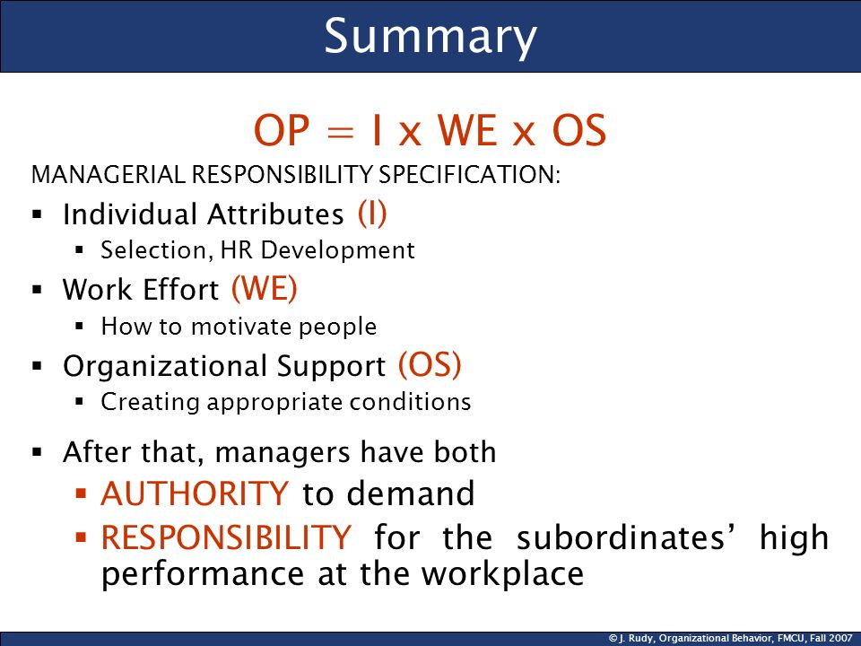 Summary OP = I x WE x OS AUTHORITY to demand