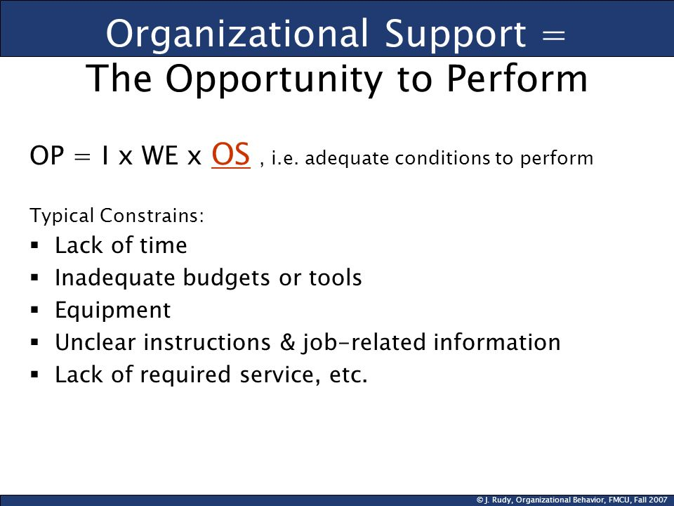 Organizational Support = The Opportunity to Perform