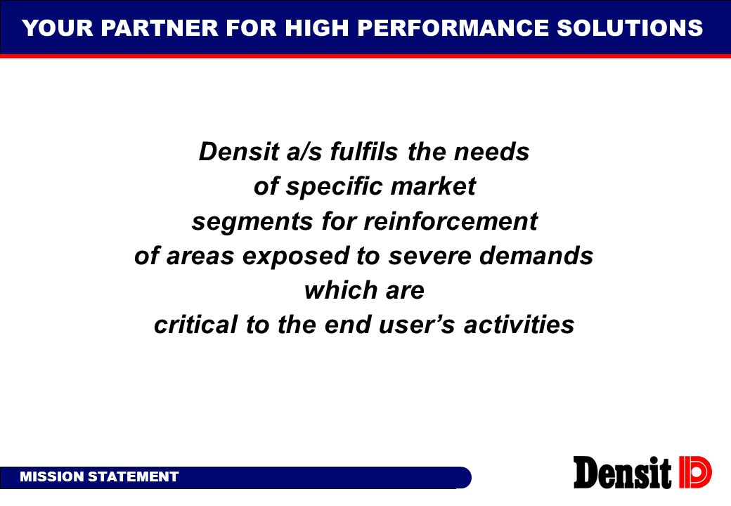 Densit a/s fulfils the needs of specific market
