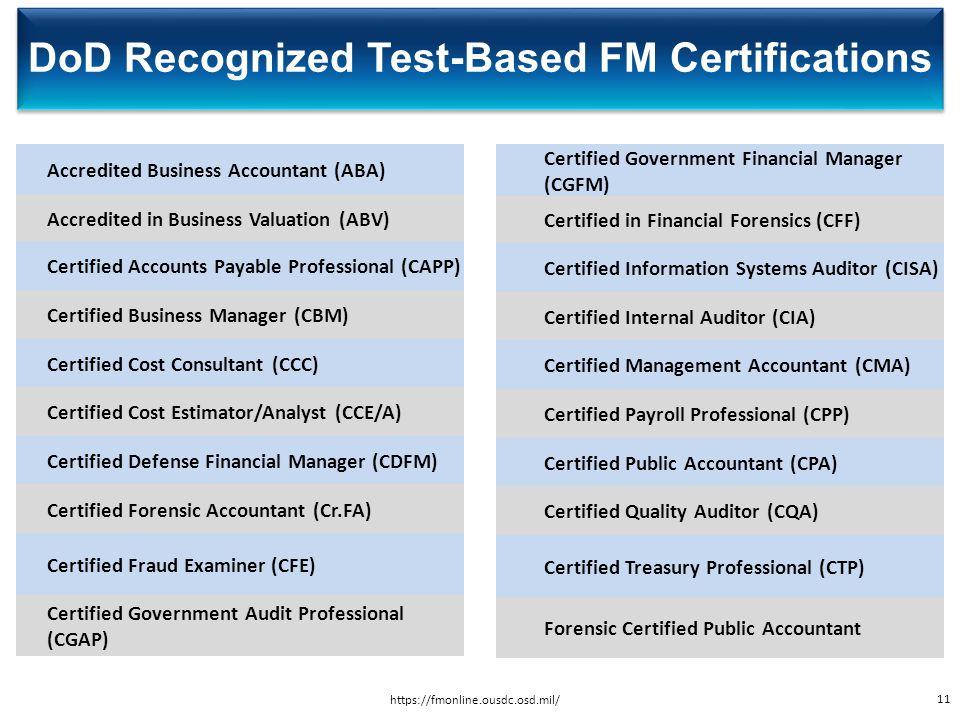DoD Financial Management Certification Program - ppt video online ...