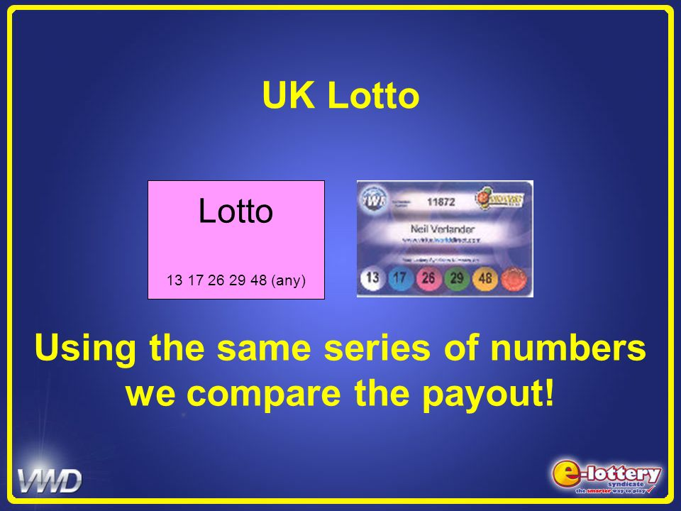 Using the same series of numbers we compare the payout!