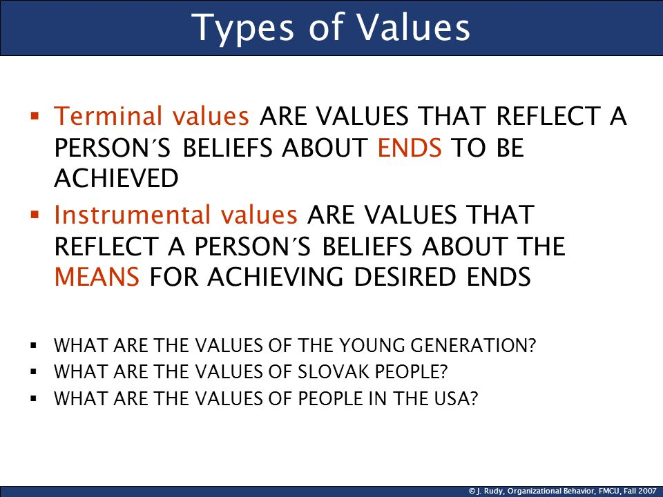 Types of Values Terminal values ARE VALUES THAT REFLECT A PERSON´S BELIEFS ABOUT ENDS TO BE ACHIEVED.