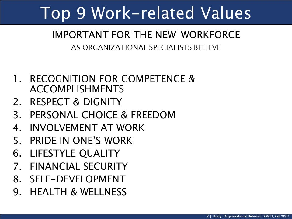 Top 9 Work-related Values IMPORTANT FOR THE NEW WORKFORCE AS ORGANIZATIONAL SPECIALISTS BELIEVE