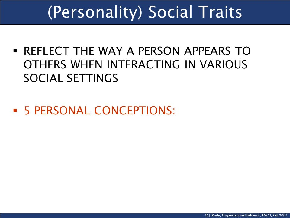 (Personality) Social Traits