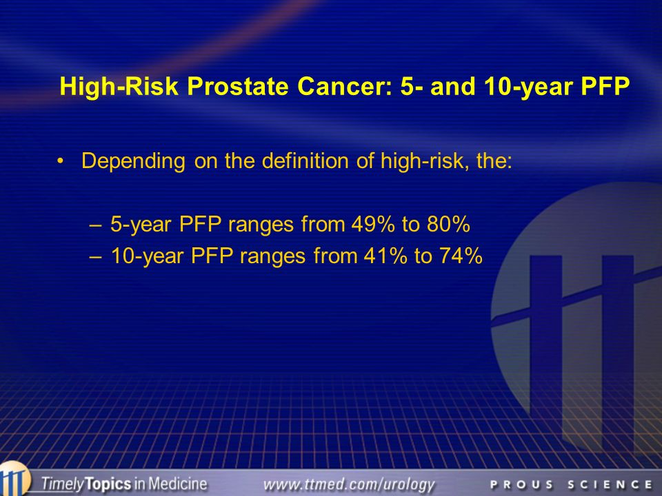 High-Risk Prostate Cancer: 5- and 10-year PFP