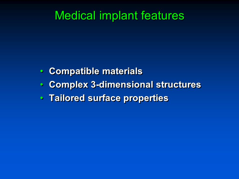 Medical implant features