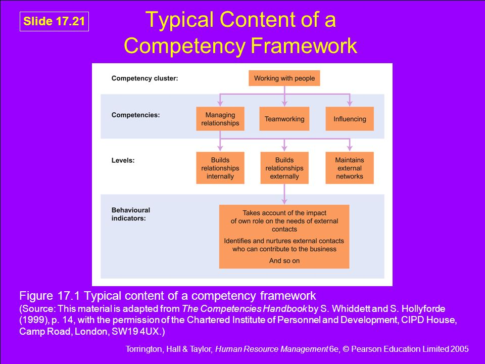 Typical Content of a Competency Framework