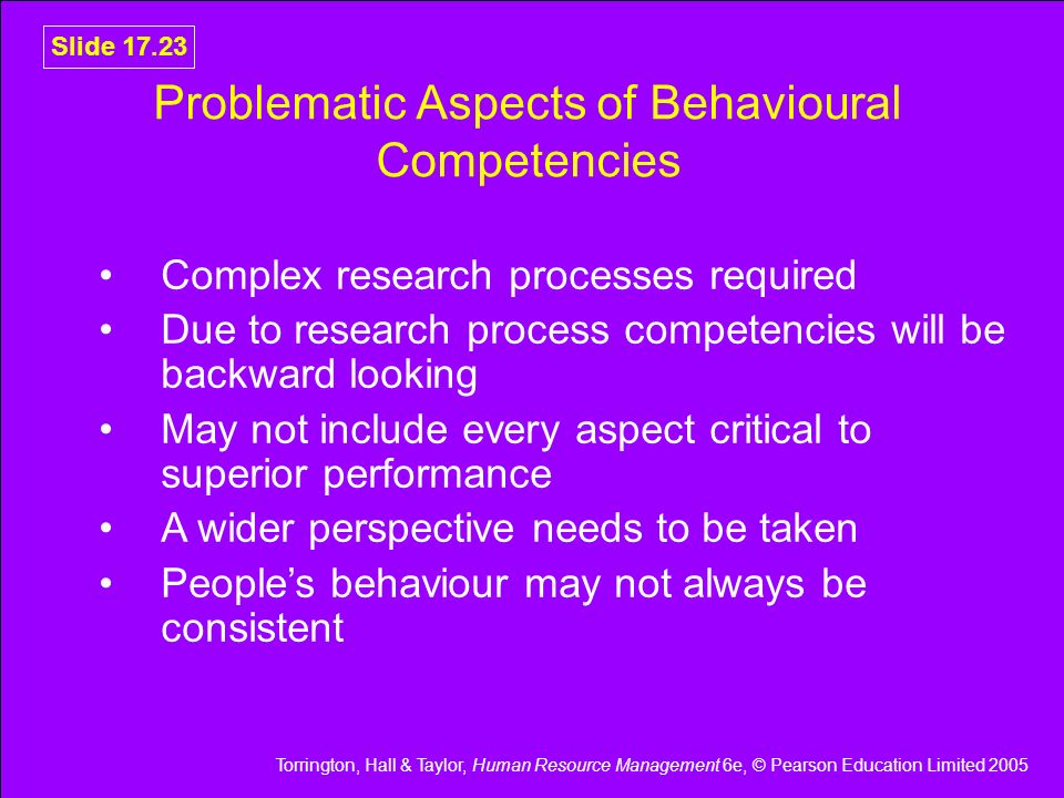 Problematic Aspects of Behavioural Competencies
