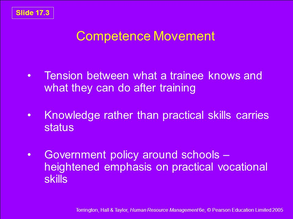 Competence Movement Tension between what a trainee knows and what they can do after training. Knowledge rather than practical skills carries status.