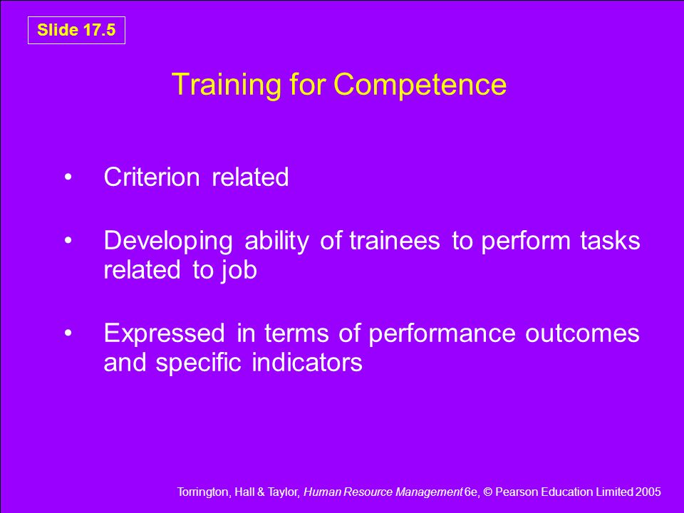 Training for Competence