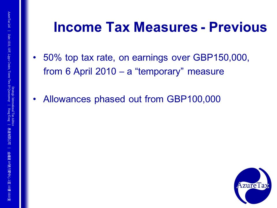 Income Tax Measures - Previous
