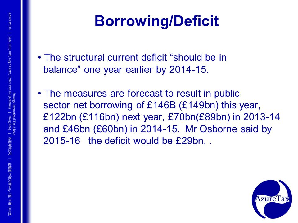 Borrowing/Deficit • The structural current deficit should be in
