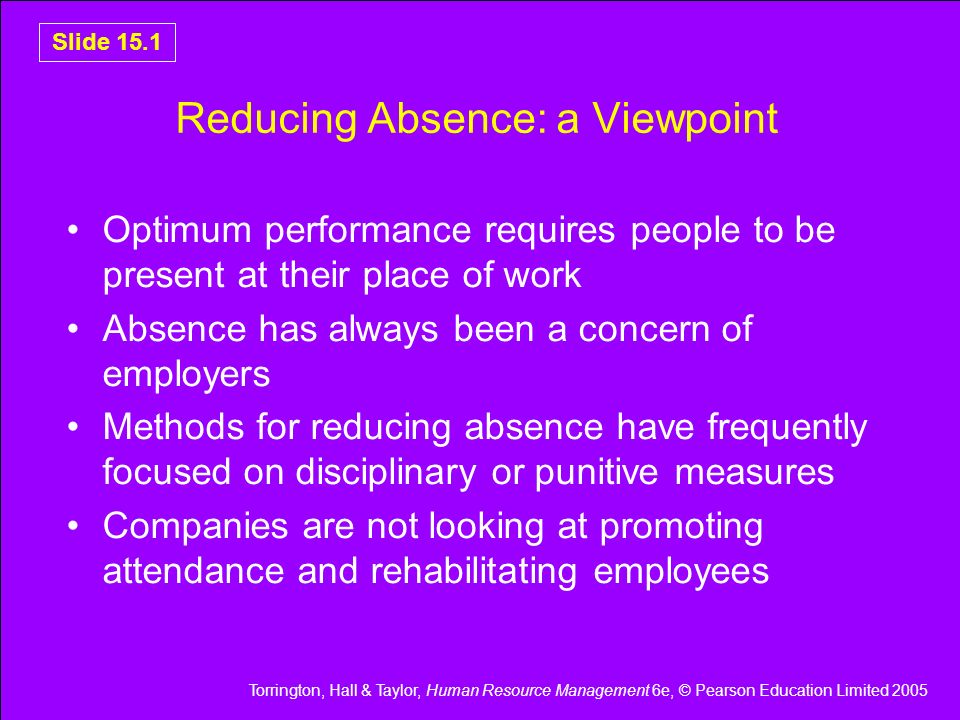 Reducing Absence: a Viewpoint