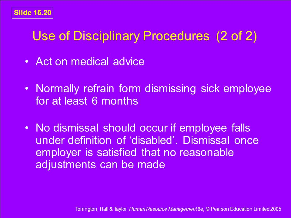 Use of Disciplinary Procedures (2 of 2)