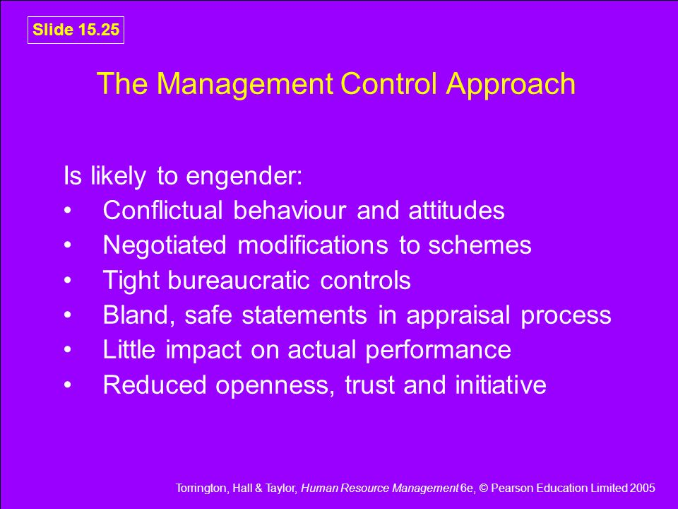 The Management Control Approach