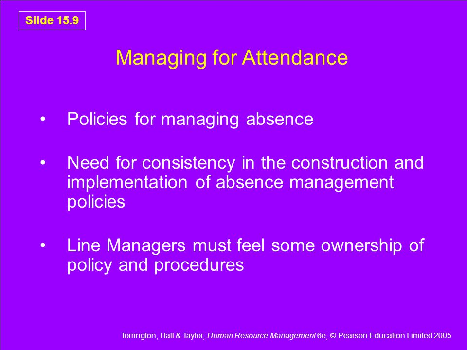 Managing for Attendance