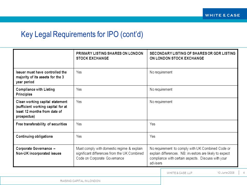 Key Legal Requirements for IPO (cont'd)