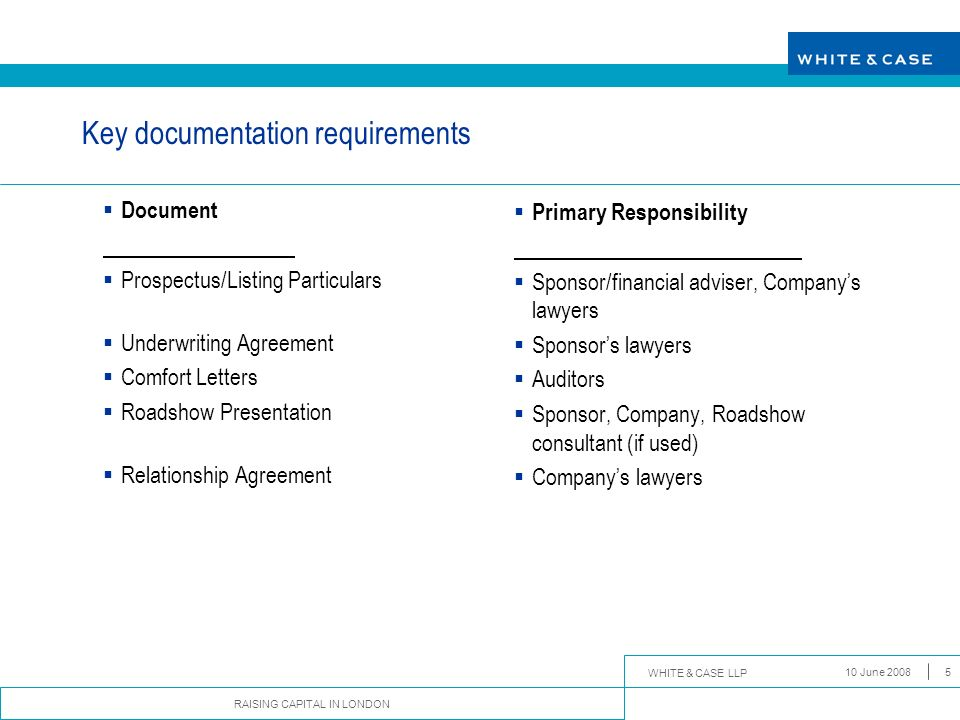 Key documentation requirements
