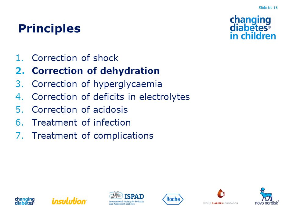 Principles Correction of shock Correction of dehydration