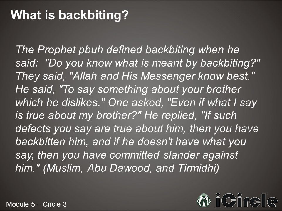 What is backbiting