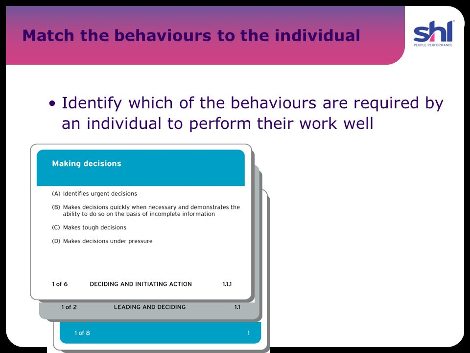 Match the behaviours to the individual