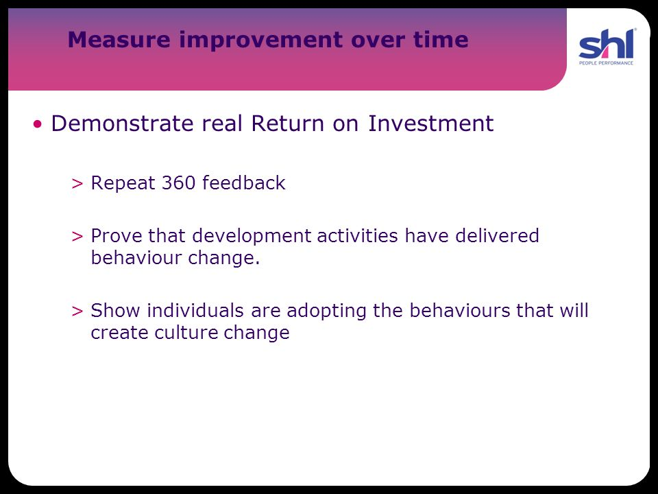 Measure improvement over time