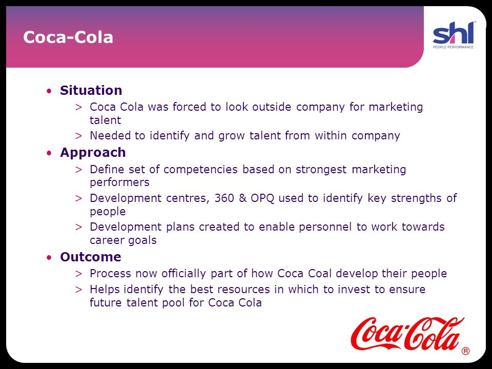 Coca-Cola Situation Approach Outcome