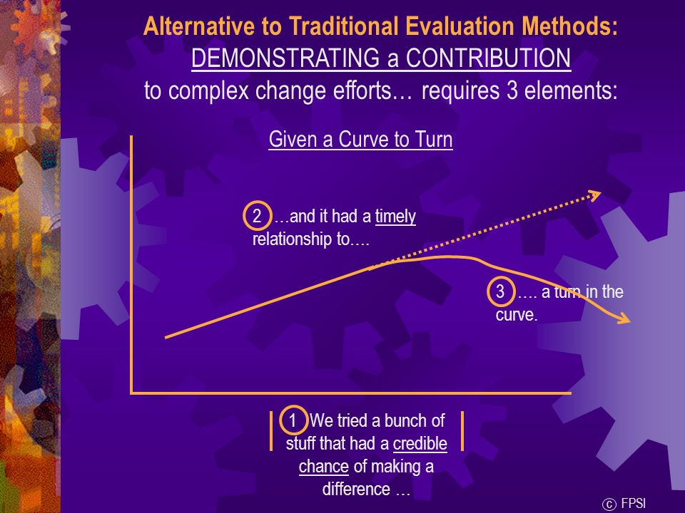 Alternative to Traditional Evaluation Methods: DEMONSTRATING a CONTRIBUTION to complex change efforts… requires 3 elements: